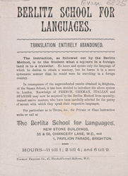 Advert for the Berlitz School for Languages